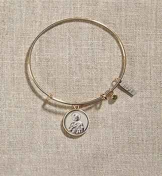 Vintage Blessings St Jude Gold Bangle Bracelet